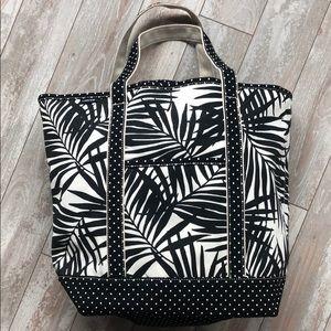 Lands' End Large Zip-Top Havana Palm Canvas Bag